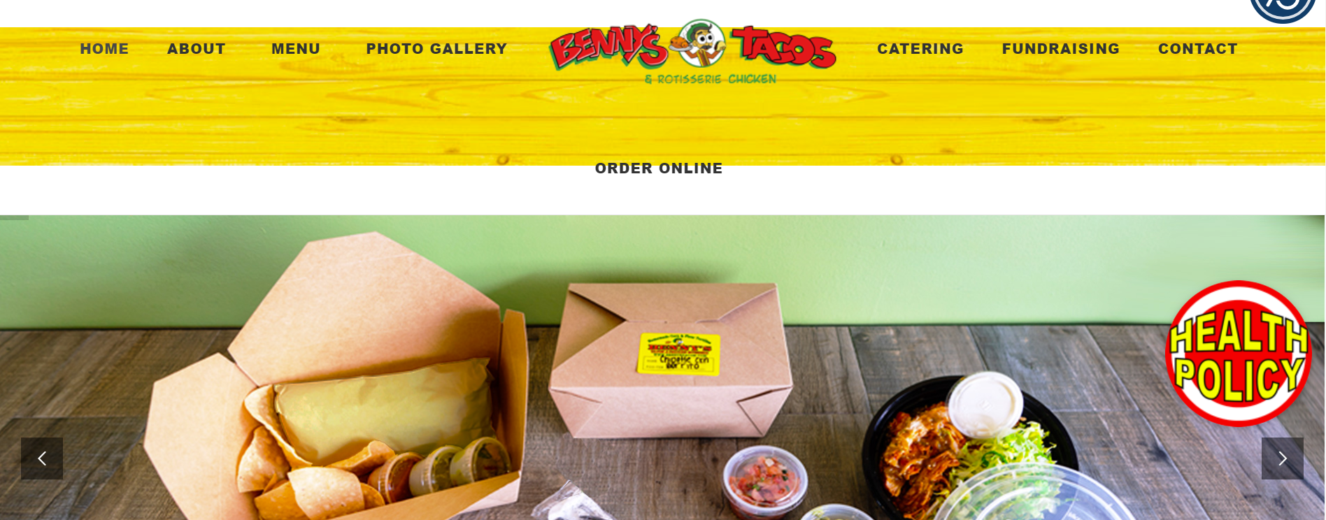 Benny's Tacos homepage