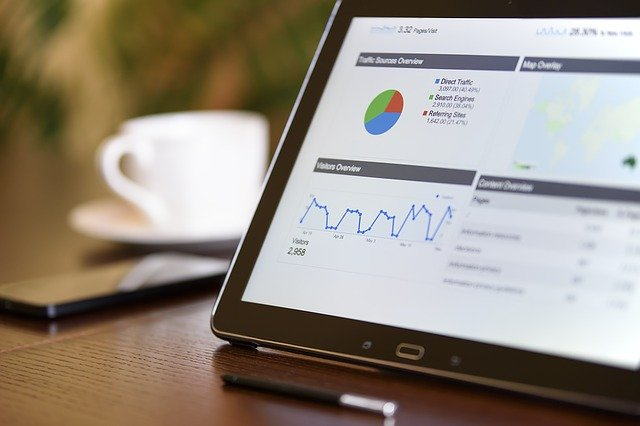 marketing analytics on a tablet screen